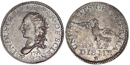 OLD MONEY - FLOWING HAIR SILVER CENTER CENT 1792 - Products